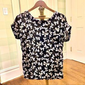 Black & White Silky Ribbon-print Blouse 🎀
